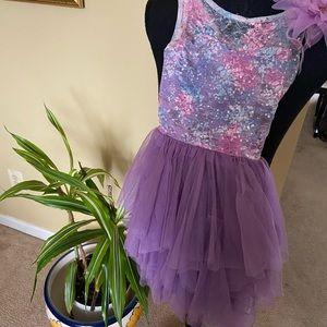 Purple, pink, and light blue dress